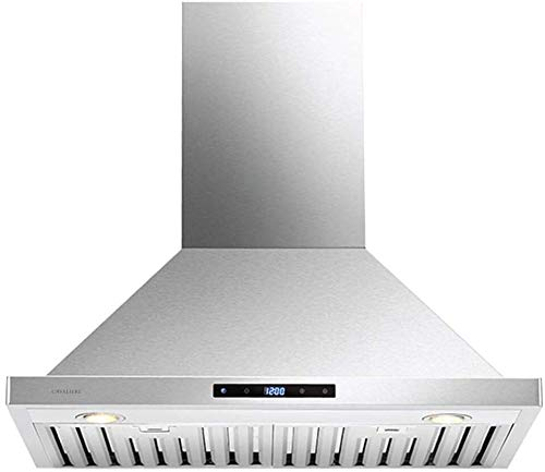 CAVALIERE Range Hood 30″ Inch Kitchen Vent | Wall Mounted Brushed Stainless Steel With 860 CFM | 4 Speed Touch Sensitive Control Panel | Baffle Filters | LED Lighting