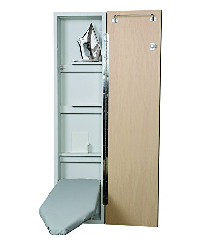 Iron-A-Way Built-In Ironing Center with 46 Inch Ironing Board, Hot Iron Storage and Flat Maple Veneer Door-NE46WDU