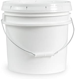 Ropak USA 3.5 Gallon Food Grade White Plastic Bucket with Handle & Lid - Set of 1