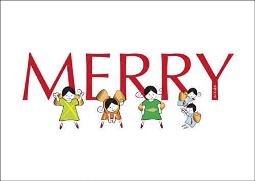 Grappige kerstkaart met envelop, cadeaukaart voor kerstfeest met engelen die de Xmas turnen op wit: Merry Xmas • als wenskaart voor Kerstmis, Nieuwjaar, oudejaarsavond voor vrienden