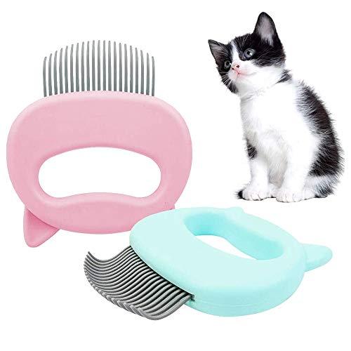 Peine para Mascotas, 2 Pieces Cepillo para Gato Mascotas, Peine para Masajes para Gatos, Relaja el Peine del Gato for Depilación y Limpieza, el Peinado, el Cepillo del Gato (Pink and Green)