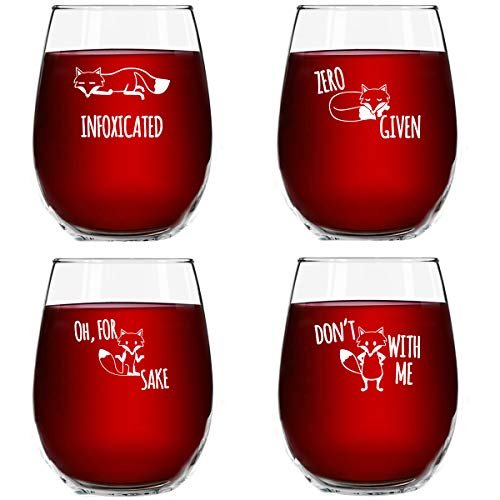 Funny Stemless Wine Glass Set | The Fox ...