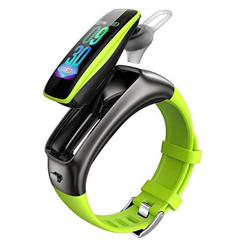 KKZ Pulsera TB02 Auriculares Bluetooth Inalámbrica Bluetooth 2-IN-1 Pedómetro Monitoreo De La Frecuencia Cardíaca Bluetooth Llamada Pulsera Inteligente Deportes Smartwatch,B