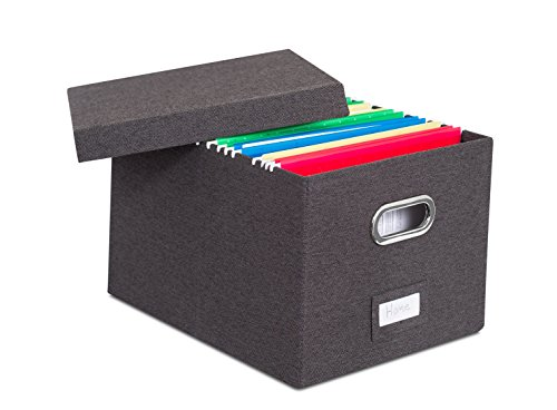 Internets Best Collapsible File Storage Organizer with Lid - Decorative Linen Filing Storage Office Box – Hanging LetterLegal Folder – Home Office Bins Cabinet – Charcoal Container - 1 Pack
