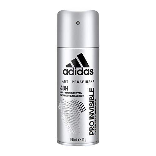 Adidas, Pro Invisible Deodorante Spray Uomo, 48 Ore di Freschezza, con Sistema Anti-Macchie, 150 ml