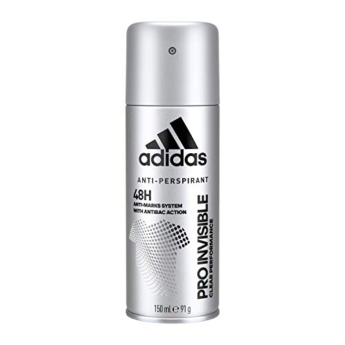 Adidas, Pro Invisible Deodorante Spray Uomo, 48 Ore di Freschezza, con Sistema Anti-Macchie, 150 ml