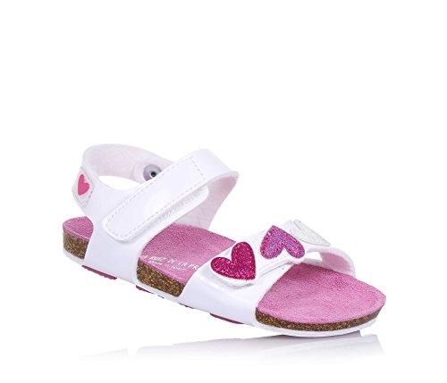 Agatha Ruiz De La Prada Weiße Sandale Aus Kunstleder, mit Klettvrschluss, auf der Vorderseite Herzförmige, Mädchen-20