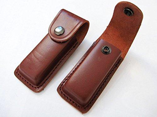 Onogal 4420 Étui en cuir pour couteau avec fermeture par pression et système d'attache à la ceinture Marron