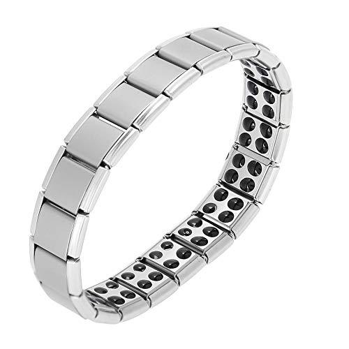 Pulseras de la Magnéticos Acero Pulsera magnética para el alivio del dolor artrítico herramientas para Hombres y Mujeres(Silver)