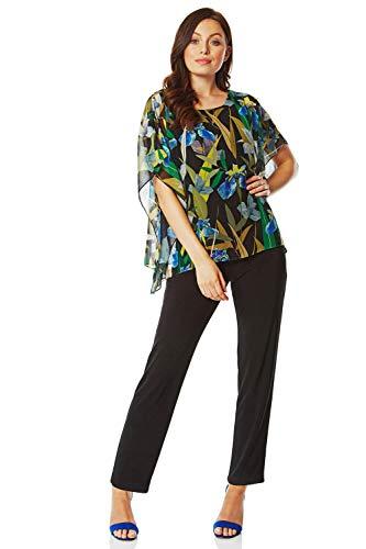 Roman Originals jumpsuit voor dames met gebloemde chiffon-overlay - damesbroek, korte mouwen, lange broekspijp, voor vakantie, feesten, bijzondere gelegenheden, cruisen, avonds