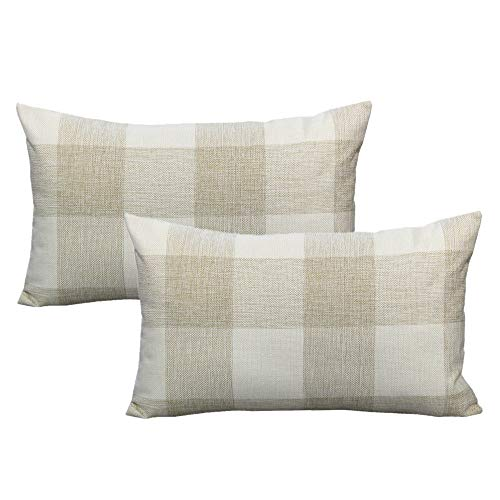 VAKADO 12x20 Inch Buffalo Plaids Decorative Throw Pillow Cases Farmhouse Beige White Retro Checkers Cotton Linen Lumbar Rectangle Cushion Covers Home Decor for Sofa Couch Set of 2