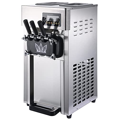 18L Commercial Ice Cream Machine, 1200W 4.8LX2 Tank Stainless Steel Ice Cream Machine, 3 Flavors Per Hour Auto Clean LED Panel Perfect For Restaurants, Dessert Shops, Coffee Shops, Milk Tea Shops