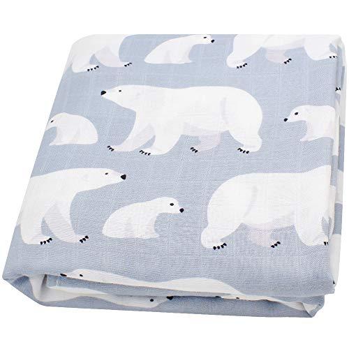 LifeTree Baby Musselin Swaddle Decke Tücher, Weich 120x120 cm Eisbär Design Baby Bambus Baumwolle Swaddle, Pucktücher für Junge und Mädchen