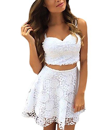 Mujer Conjuntos De Crop Top Y Falda 2 Piezas Elegantes Vintage Niñas Ropa Encaje Vestidos Sin Mangas Tirantes V Cuello Sin Espalda Blusas Y Faldas Cortas (Color : Blanco, Size : M)