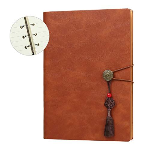 Kesote A5 Notizbuch Liniert Hardcover Leder Tagebuch Lose Blätter Ringbuch mit Register Gummiband Lesezeichen Innentasche, 200 Seiten