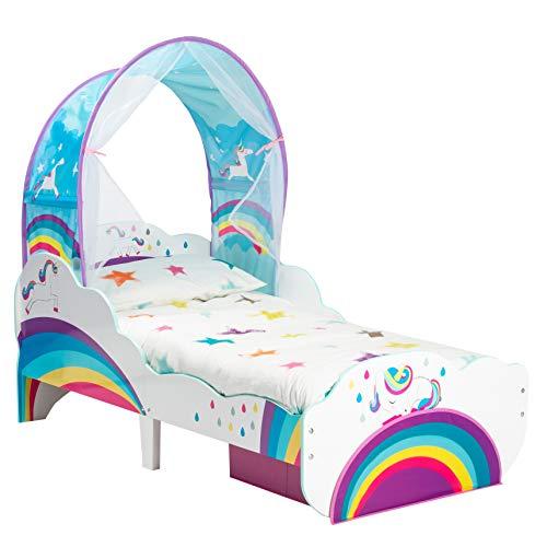 Worlds Apart Kleinkinderbett im Einhorn- und Regenbogen-Design mit Betthimmel und Stauraum, One Size