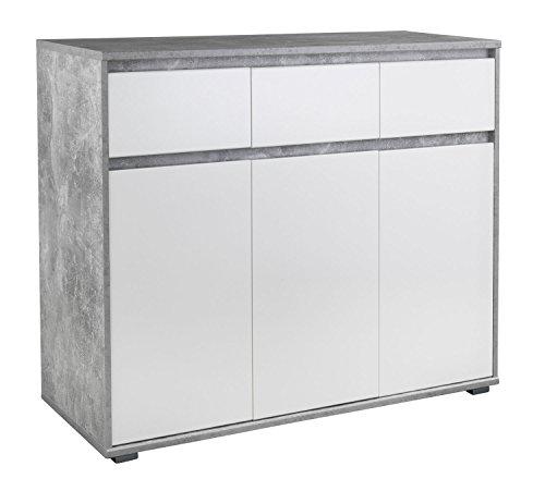 Highboard Kommode Mehrzweckschrank | Dekor | Weiß | Betonoptik | 3 Türen | 3 Schubladen