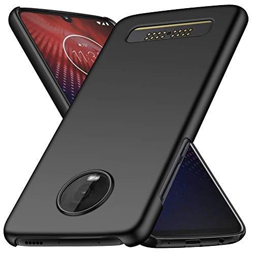 FanTings Capa para Motorola Moto Z4, [ultrafina] [antiqueda] [sensação de seda] Capa protetora para celular PC rígida para Motorola Moto Z4-Preta