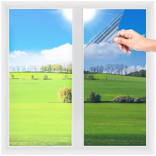 Lámina de espejo autoadhesiva para ventana, aislamiento térmico, protección contra rayos UV, infrarrojos, protección visual (plata, 40 x 200 cm)