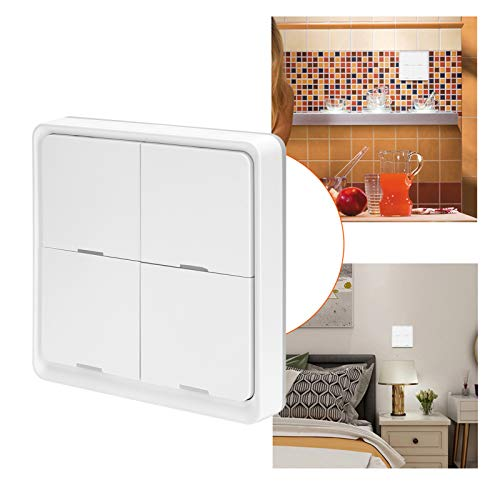 BITHEOUT Interruptor de Escena, Controlador de Escena de Interruptor ZigBee con Adhesivo de Doble Cara para Amigos para el hogar