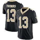 Michael Thomas New Orleans Saints 13# Maillot de Football Américain, Maillot de Rugby Équipe Vêtements Rugby Sport Shirt Brodé Imprimer Top À Manches Courtes-Black-XL(185~190CM)