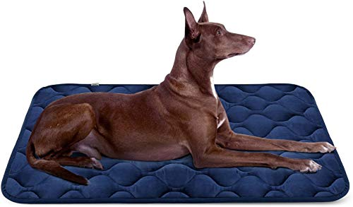 Hero Dog Large Dog Bed Mat 42 Inch Crate Pad Anti Slip Mattress Washable for Pets Sleeping (Blue L)
