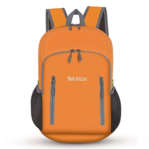 Bekahizar 20L Faltbarer Rucksack Ultra Leichter Wandern Daypack Kleiner Reiserucksack Tagesrucksack Tasche für Männer Frauen Kinder Outdoor Sports Camping Reisen Jogge Radfahren Klettern (orange)