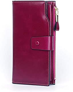 Women's Oil Wax Leather Genuine Leather Anti-Magnetic RFID Lady Purse with Zipper JJXSHLFLL (Color : Purple)