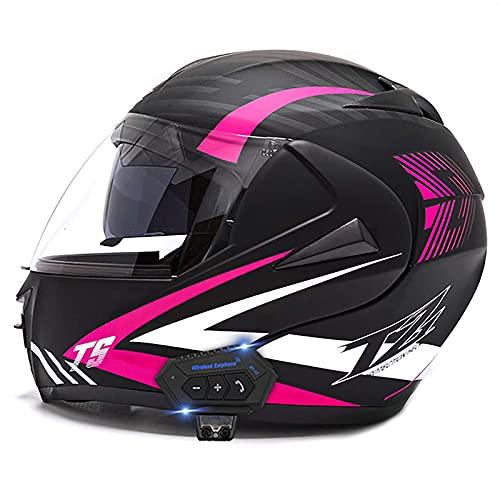 XYXZ Cascos Integrales De Motocicleta Casco Abatible De Motocicleta Integrado con Bluetooth, Casco Integral Modular De Motocicleta Aprobado por Dot, Casco De Motocicleta con Visera Solar DOB