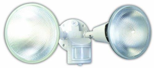 Designers Edge L5999WH L-5999Wh Twin Head Motion Activated Flood Light, 120 V, 240 W, Par, Incandescent, 120 W, Watt, White