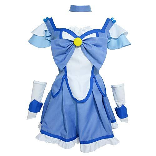 Xiao Wu Cure Beauty Princess Glitter Breeze Force Aoki Reika Dress Cosplay Costume (Female M) Blue,White