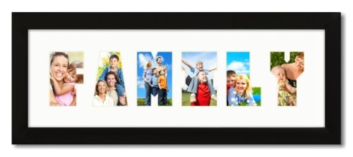 Craig Frames 6x18 Black 1' Wide Picture Frame with Family Collage Mat