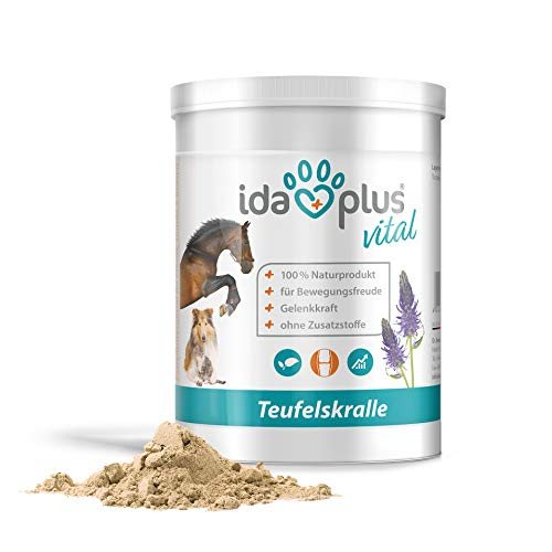 Ida Plus - Teufelskralle - fein vermahlenes Pulver für Hunde, Katzen & Pferde - 100% Naturprodukt für aktive Gelenke – ohne Zusatzstoffe – mit Mineralien und Glykosiden – für Bewegungsfreude 500 g