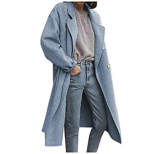 Damen Winter Mantel Blazer Wollmantel Slim Fit,Kanpola Business Frauenmantel Herbst Winter Trenchcoat Lang Warme GroßE GrößEn üBergangsjacke (44 EU, 20-blau)