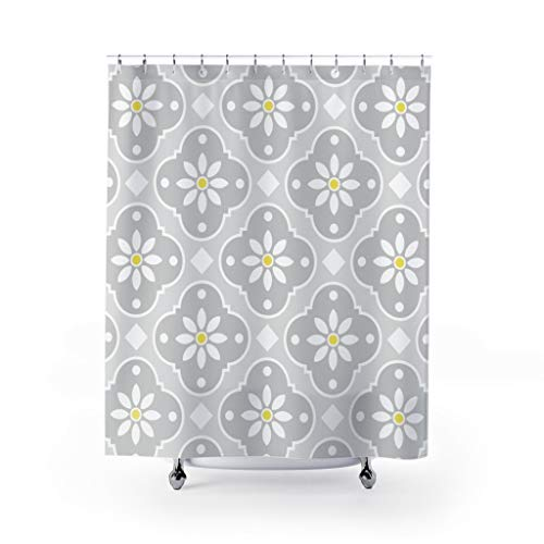 DKISEE Daisy Deco In Grays Fabric Shower Curtain, Bath Decor, Classic Original Design, 71x71 inches