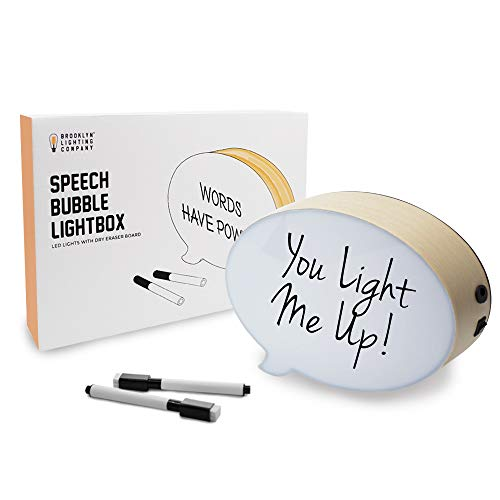 Brooklyn Lighting Company LED Cinematic Light Box Speech Bubble Marquee Box with 2 Dry Erase Markers and USB Cable