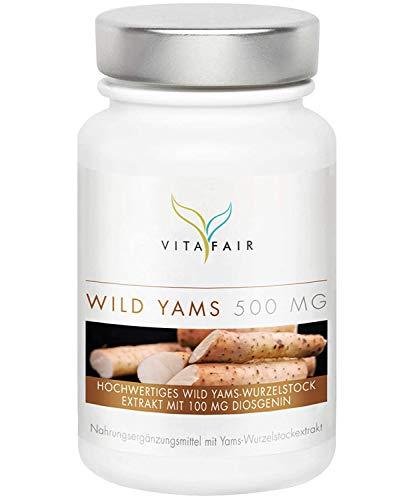 Wild Yams Extrakt - 500mg pro Tagesdosis - 120 Kapseln - 20% Diosgenin = 100mg - Hochdosierte Wild Yams Wurzel - Vegan - Ohne Magnesiumstearat - German Quality
