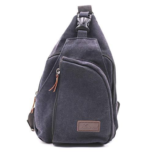 Kalevel Outdoor Travel Crossbody Backpack Casual Shoulder Chest Bag (Black,L)