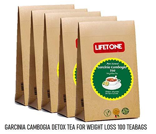 Detox Tee zur Gewichtsreduktion | Tee zum Abnehmen | Diet Fat Loss Cleanse Drink | 100 Teebeutel | Garcinia Cambogia Tee | Packung mit 5 Stück