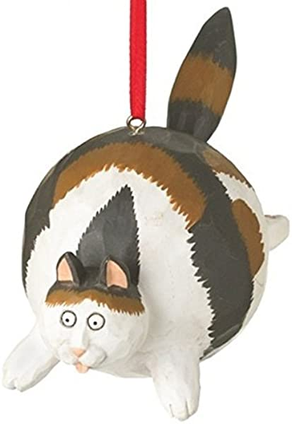 On Holiday Calico Fat Cat Christmas Tree Ornament Hanging From His Back By Midwest 4 75 Inch Made Of Polyresin
