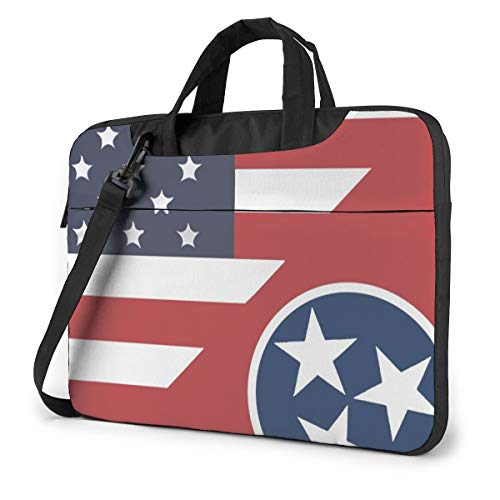 Flag of America and Tennessee Laptop Bag Shockproof Briefcase Tablet Carry Handbag for Business Trip Office 15.6 inch