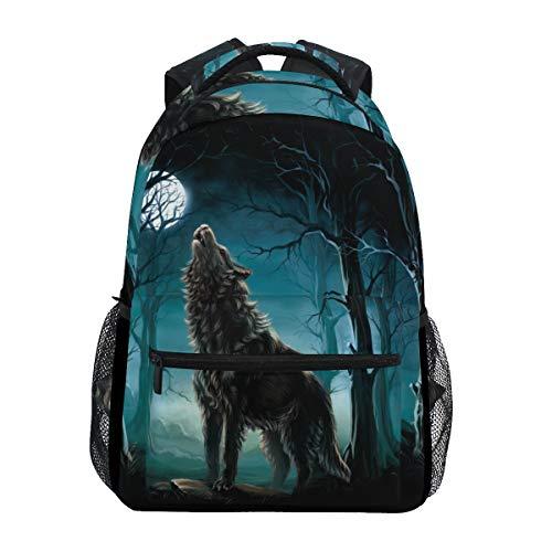 School Backpacks for Girls Kids Wolf Backpack Forest Tree Night Moon Print School Rucksacks Canvas Personalised Shoulder Bag Bookbag