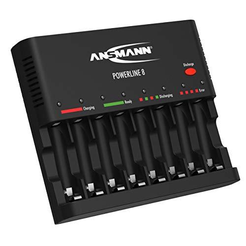 ANSMANN Akku-Ladegerät zum Laden & Entladen von 8x AA/AAA NiMH Akkus - 8-fach Batterieladegerät mit Einzelschachtüberwachung, automatische Abschaltung, Erhaltungsladung & USB Lader - Powerline 8
