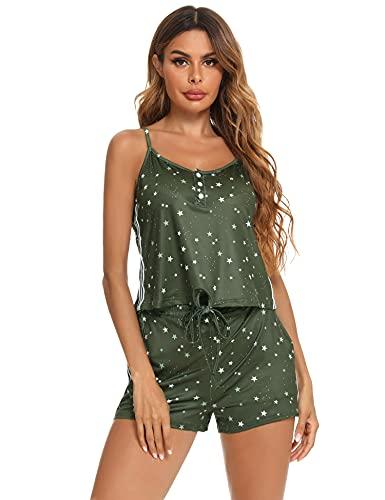 Aibrou Conjunto Casual Mujer Pijamas Mujer Verano Conjunto Pijama 2 Piezas Cortos Camisola y Bermudas Mujer Estampado Top Tirantes y Pantalones Cortos Ejercito Verde S