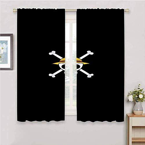 Cortinas opacas de una pieza de anime japonés, cortinas opacas para guardería, cortina, con aislamiento térmico, decoración del hogar, 55 x 39 pulgadas