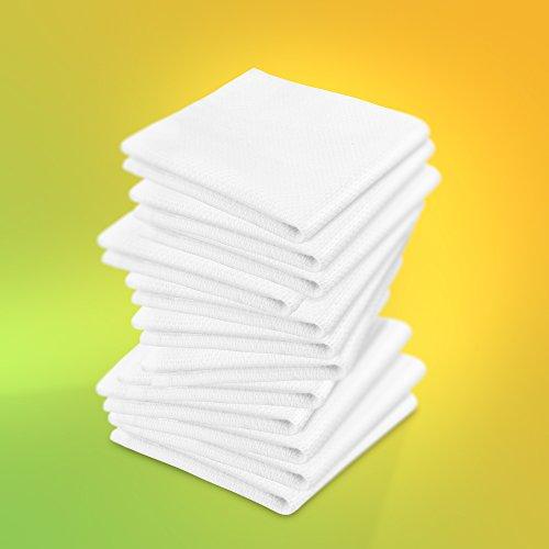 ziczac-affaires KRACHT, 12er-Set, Poliertuch, Spültuch, Multifunktion, 100% Baumwolle, Edition, ca.30x30cm (Weiss)
