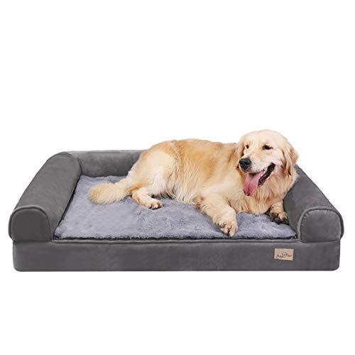 BingoPaw Divano Letto per Animali Domestici Cuccia Sofà per Cani in Memory Foam Letto Ortopedico Rivestimento Impermeabile Rimovibile Lavabile Grigio 95 x 72 x 22 cm