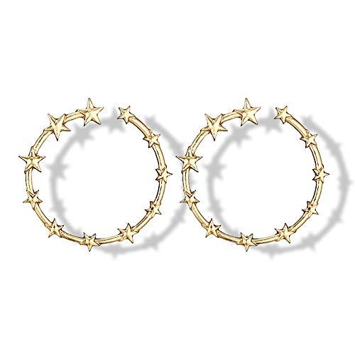 Ningz0l Oorbellen voor dames, oorsieraden, legering retro mode temperament onregelmatige vijfpuntige ster geometrie oorbellen vrouwelijke accessoires goud