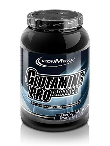 IronMaxx Glutamin Pro Bigbox – Reines L-Glutamin in Pulverform für den Muskelaufbau & -erhalt – Eiweißpulver in großer Box – 1 x 1.25 kg Pulver