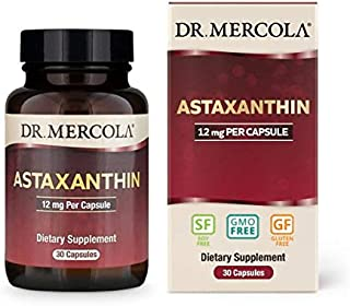 Dr. Mercola, Organic Astaxanthin Dietary Supplement Capsules, 12mg, 30 Servings (30 Capsules), Antioxidant, Non GMO, Soy Free, Gluten Free